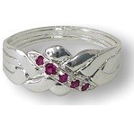 4 Band Ruby Sterling Silver Puzzle Ring