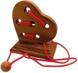 Heart String Brain Teaser Wooden Puzzle