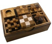 6 Wooden Puzzles Gift Set 2 In A Wooden Box