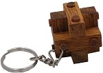 Pins Cube Key Chain - Wooden Puzzle Brainteaser